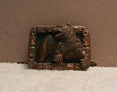 Vintage Grizzly Bear Belt Buckle USA 1994 Heavy Piece