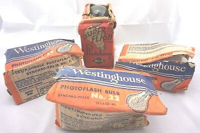 Vintage Camera 3 Westinghouse Photoflash Bulb No 22 & 2 WABASH Photolamp