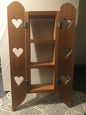 Vtg wood wall shadow box shelf with hinged cut out heart doors