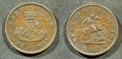 1852 Bank of Upper Canada Penny Token - PC-6B5 - Solid VF  stk#h337
