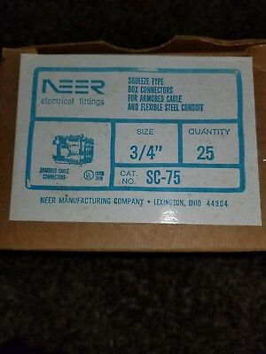 """Emerson Lot of 25 NEER SC-75  3/4"""" Die-Cast Squeeze Type Box Connectors"""