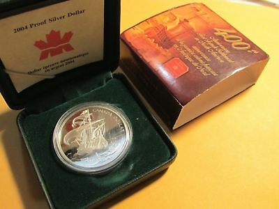 2004 Canadian Silver Dollar French Settlement Proof Case & Coa