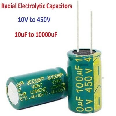 High Frequency Radial Electrolytic Capacitor LOW ESR Various Value and Voltage