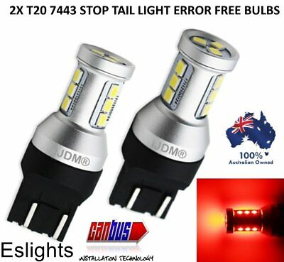 2X T20 7443 Canbus Red Led Brake Stop Tail Light Ford Toyota Holden Bulb Globe