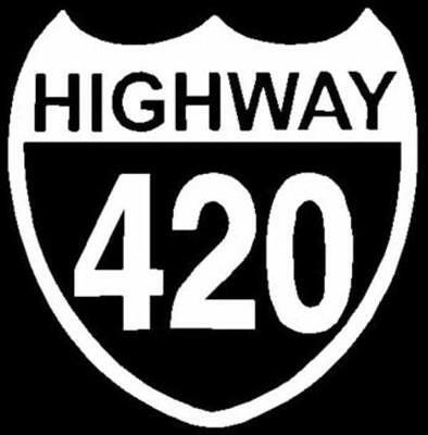 """/""""HIGHWAY 420/"""" WHITE oval window decal Car Truck Outdoor"""