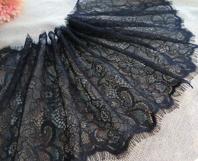3M Eyelash Lace Trim Floral Double Scalloped Wedding Dress Clothes Sewing Craft