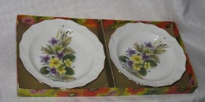 Pair of English Duchess Porcelain China Jam Dishes Floral Design Original Box