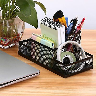 School Home Desk Organizer Black Mesh Metal Desktop Pencil Holder Storage Tray