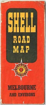 1958 Shell Road Map Melbourne Environs 68 x 54cm