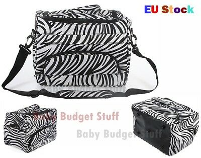 Salon Hair Tools Hairdressing Zebra Carry Case Diaper Sturdy Zips Duffle Bag UK