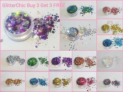 Chunky Mixed Festival Glitter Pot-Nails Hair Face Eye Body Tattoo Dance Cosmetic
