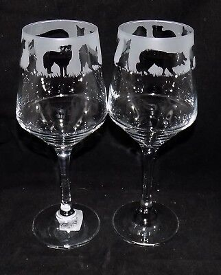 "New Etched ""BORDER COLLIE"" Wine Glass(es) - Free Gift Box - Large 390mls Glass"