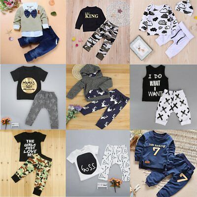 2pcs Toddler Newborn Kids Baby Boys Girls T-shirt Tops+Pants Outfits Clothes Set