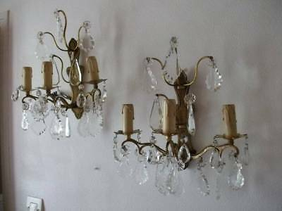 Pair French Crystal  Wall Lights Bronze Ormolu 3 Arm