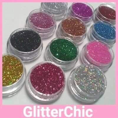 12 x Pots Loose GLITTER FINE Eyes Face Body Craft Nails Festivals Dance Party