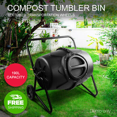 Greenfingers 190L Compost Aerated Tumbler Bin Recycling Food Waste Composter