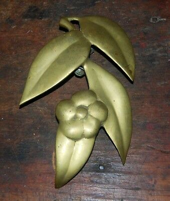 Antique Brass Door Knocker Leaves And Flower Decoration Hand Forged Orig. Patina