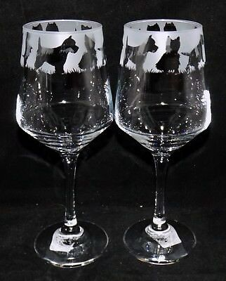 """New Etched """"WEST HIGHLAND TERRIER"""" Wine Glass- Free Gift Box- Large 390mls Glass"""