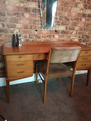 1950s Alfred Cox Walnut & Birch Dressing Table / Desk And Chair