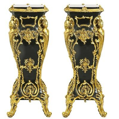 Pedestal Two Baroque Style Resin With Marble Top Pedestals Black/gold #mb200