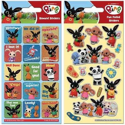 Paper Projects Bing Bunny Reusable Foil Craft Stickers Age 3 +