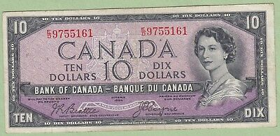 1954 Bank of Canada 10 Dollar Note Devil's Face - Beattie/Coyne - E/D9755161 -VF