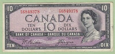 1954 Bank of Canada 10 Dollar Note Devil's Face - Beattie/Coyne - F/D6849378 -VF