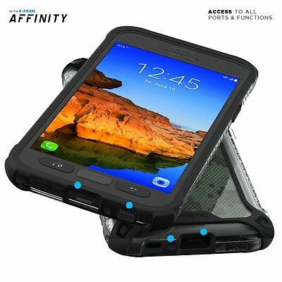 For Samsung Galaxy S7 Active Clear Shockproof 360° Bumper TPU Cover Case Black