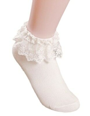AM Landen Super Cute Princess Lace Ruffle Frilly Ankle Socks-White