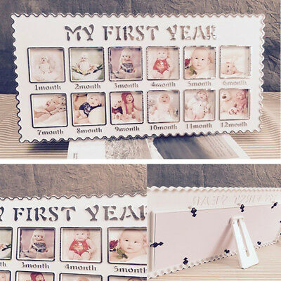 EP_ My First Year Baby Photo Frame Picture Display 12 Months Birthday Gift Dulce