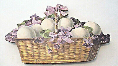"""17"""" New Old Stock WOOD Decoupage Easter EGGS Flowers BASKET Hang Or Easel Stand"""