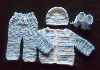 crochet Blue baby boy pants sweater booties and hat acrylic handmade 3-6 Months