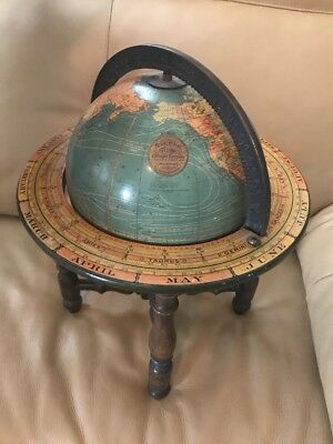 ANTIQUE KITTINGER 8 INCH TERRESTRIAL GLOBE w/ ORNATE PEDESTAL STAND Wow!!!