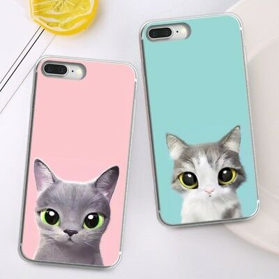 Cute Cat Printed Soft Silicone TPU Back Case Cover for iPhone X 8 8Plus Samsung
