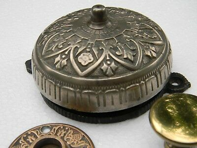Antique Rare Nickeled Brass Victorian Door Bell, and Pull 1874