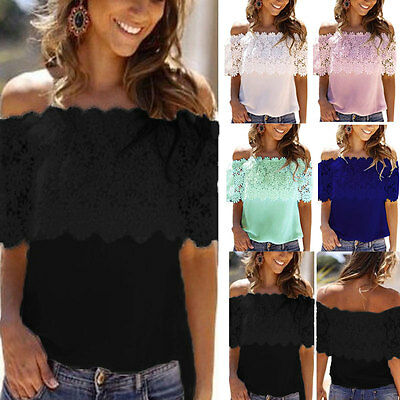 Plus Size Women Summer Cold Shoulder Chiffon Shirt Casual Lace Floral Blouse Top