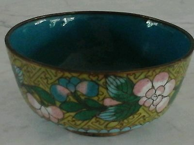 Chinese Cloisonne Yellow Enamel Floral Bowl Old Small  Box Trinket Jar