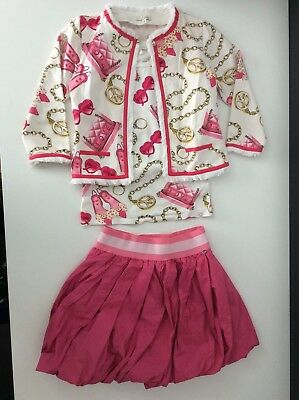 Miss Grant Outfit, Set, Size 38, Age 10,Skirt, Top & Cardigan, Pink & White, Vgc