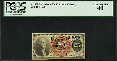 Fr. 1307 25 Cent Fourth Issue Fractional Currency Note Paper Bill - PCGS EF 40