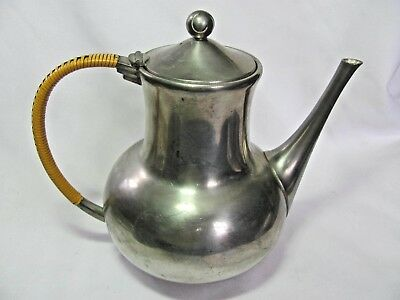 Vintage Daalderop Tiel Royal Holland Pewter Coffee Tea Pot Bamboo Wrapped Handle