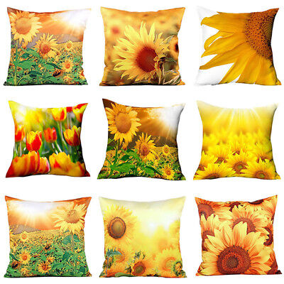 EP_ 3D Yellow Sunflower Polyester Throw Pillow Case Cushion Cover Home Decor Fas