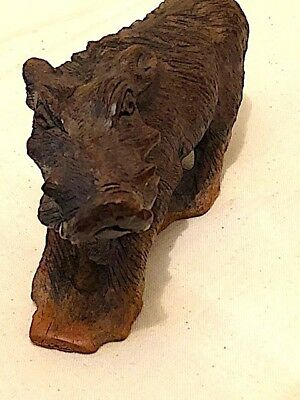 Antique Black forest wood carved warthog. Very ugly but impressive and rare.