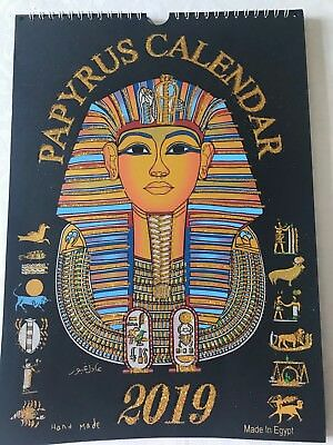 Authentic hand painted papyrus calendar pharaonic Egypt hieroglyphic 2019 large
