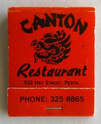 Canton Restaurant 532 Hay St Perth 3258865 Ming Palace City Arc Matchbook (Mk1a)
