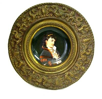 Antique German Hand Painted Porcelain Plate with Repousse Brass Frame