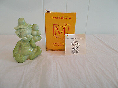 "Vintage Mosser 3.5"" Glass Figurine 1981 Olive Green Slag Bags Clown Balloons Box"