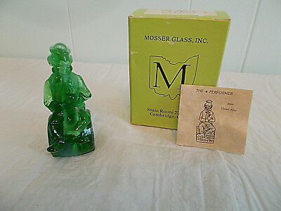 "Vintage Mosser 3.5"" Glass Figurine 1982 Uwe Green Slag Clown W/ Box"