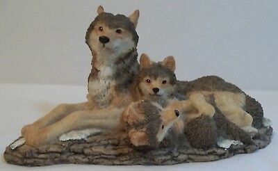 Wolf family figurine,  Wolf mother & 2 pups,  Wolves resin statuette,  Young's