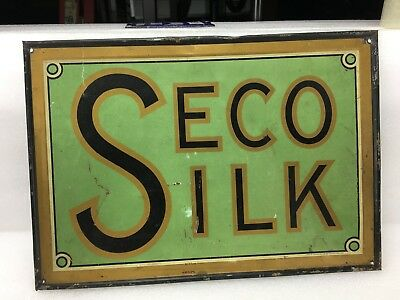 Original Early Seco Silk Tin Sign ~ Rolled Edge ~ Painted Tin 13 x 9 ~ Textiles