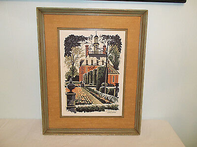 Mid Century Mark Coomer Limited Ed Serigraph Garden of The Governor's Palace